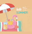 hello summer poster with beach scene and flemish vector image vector image