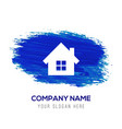 house icon - blue watercolor background vector image