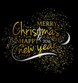 Merry Christmas Festive black background with gold vector image
