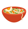 noodles with greens crispy carrot and egg piece vector image vector image