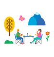 people having picnic eating fast food on nature vector image