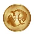 Pisces gold medallion drive vector image