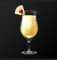 realistic cocktail pina colada glass vector image vector image