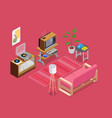 retro devices isometric concept vector image vector image