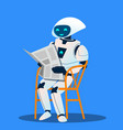 robot resting on chair and reading newspaper vector image vector image