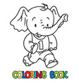running little baby elephant coloring book sport vector image vector image