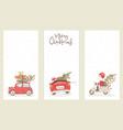 santa hurries to bring gifts set christmas cards vector image vector image