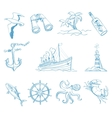 Seamless background on boating theme for your vector image vector image