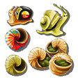 set objects on subject snails vector image vector image