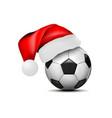 soccer ball with santa claus hat football ball vector image