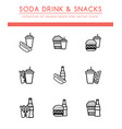 soft soda drink and different fast food vector image