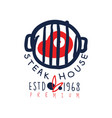 steak house logo template premium estd 1968 vector image vector image
