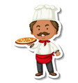 sticker template with a chef man holds pizza tray vector image vector image
