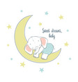 sweet dreams a little elephant sleep on the moon vector image