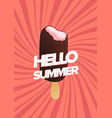 vertical poster with ice cream and hello summer vector image vector image