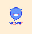 vet chat icon veterinary doctor online logo cat vector image vector image