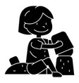boy playing with sand on beach icon vector image