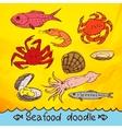 scribble series seafood set vector image