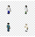 isometric human set of officer male seaman and vector image