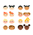 Multicultural national children heads flat style vector image