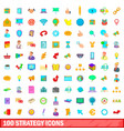 100 strategy icons set cartoon style vector image vector image