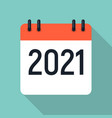 2021 year flat calendar icon eps10 vector image