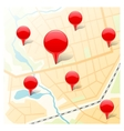 Abstract map with glossy markers vector image