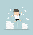 businesswoman jumping and a mountain of documents vector image