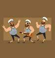 cartoon flat fat sailor man character set vector image