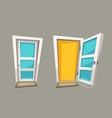 cartoon open and close doors vector image vector image