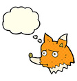 cartoon unhappy fox with thought bubble vector image vector image