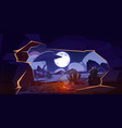 cave with bonfire and night desert landscape vector image