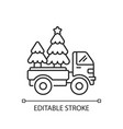 christmas tree delivery linear icon vector image