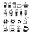 coffee black icons vector image vector image