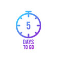 count timer icon emblem 5 days left in flat vector image