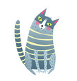 cute cartoon cat sitting vector image vector image
