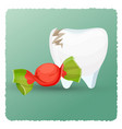 dental care tooth and candy on vector image