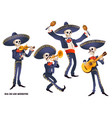 dia de muertos mariachi band musician skeletons vector image