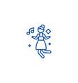 disco dancing girl line icon concept disco vector image
