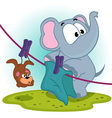 Elephant mistakenly hung on clothespins mouse by vector image