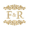 f and r vintage initials logo symbol vector image vector image