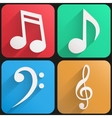Flat icon set music for Web and Application vector image vector image