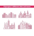 Four different cities and towns vector image vector image