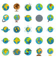 globe earth icons set flat style vector image vector image