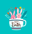 happy easter greeting two vector image vector image