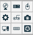 hardware icons set with gear cpu fan power vector image vector image
