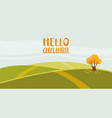 hello autumn color on rural hills vector image