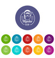 hipster style icons set color vector image