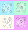 line call support center icons infographic vector image vector image