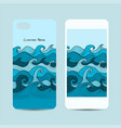 mobile phone cover design sea waves background vector image